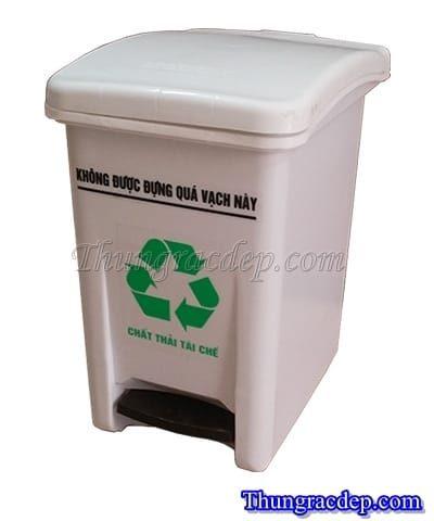Thùng rác nhựa đạp chân 20 lít trắng