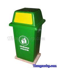 Thùng rác nhựa Composite nắp đẩy 90L