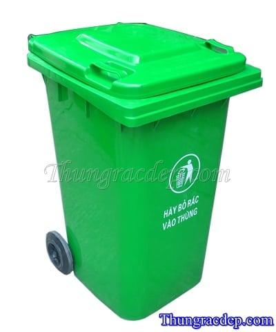 Thùng rác 240 lít màu xanh