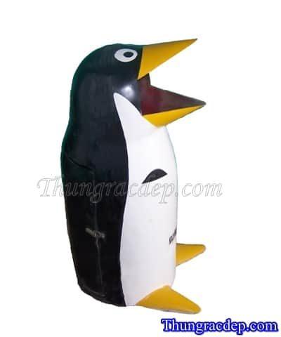 Thùng rác con thú chim cánh cụt Đen Trắng