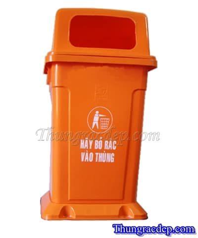 Thùng rác 95 lít nắp hở màu cam