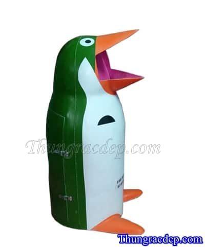 Thùng rác composite chim cánh cụt Xanh-Trắng