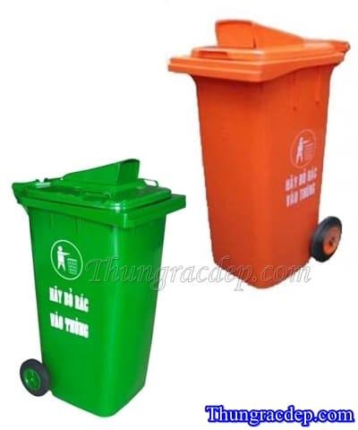 Thùng rác HDPE 120 lít màu xanh & cam