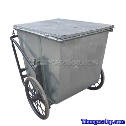 Xe gom rác có nắp đậy 500L
