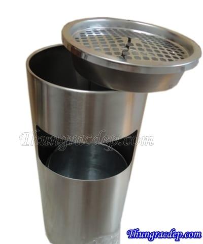 thùng đựng rác bằng inox có gạt tàn
