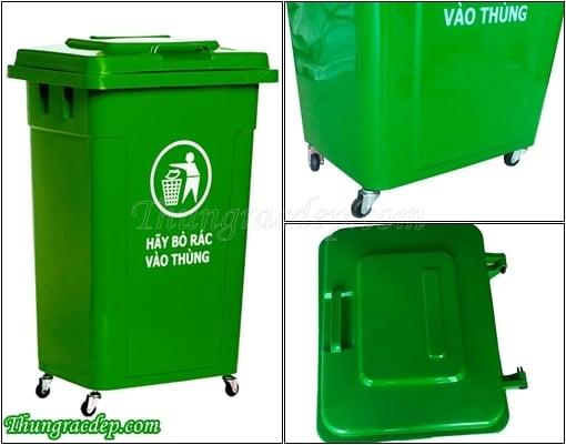 thùng rác nắp kín nhựa HDOE 90 lít
