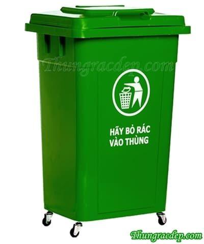 Thùng rác 90L nắp kín HDPE
